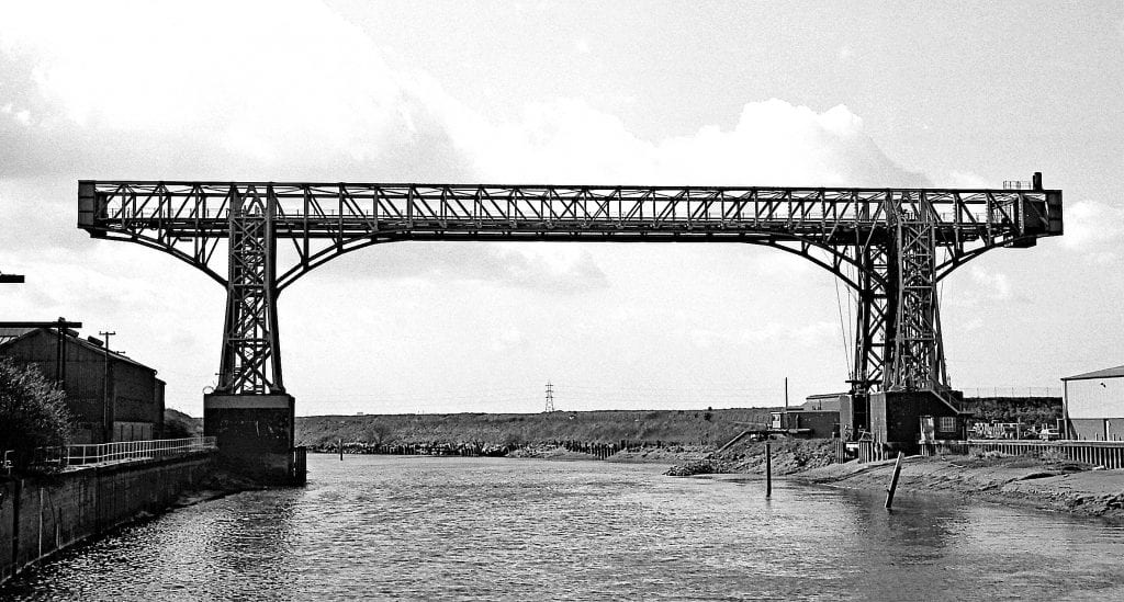 The second and existing 1915-built Warrington Transporter Bridge in 1978 – after it finished operating about 1964 – which the Friends of Warrington Transporter Bridge are campaigning to preserve.