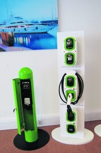 Going green: An EV charging point and WallPods. PHOTO: JANET RICHARDSON