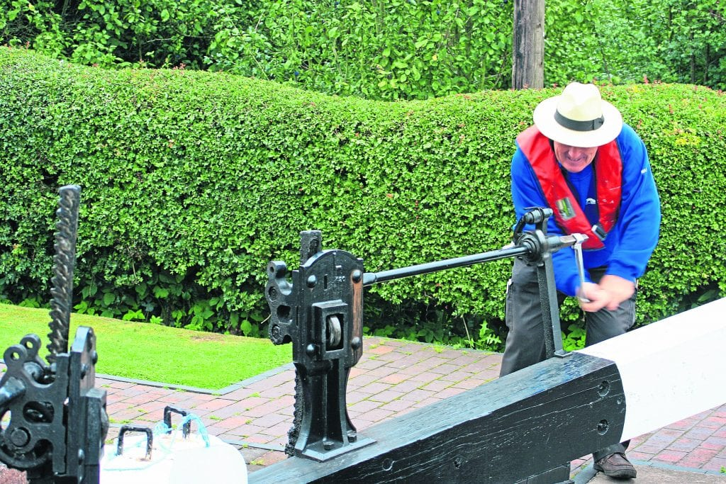 Using a windlass to operate Bratch Locks on the Staffordshire & Worcestershire Canal