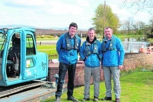 The dredging team ready for action, left to right, Alasdair Hamilton, Davie Smith and Tommy Thomson.