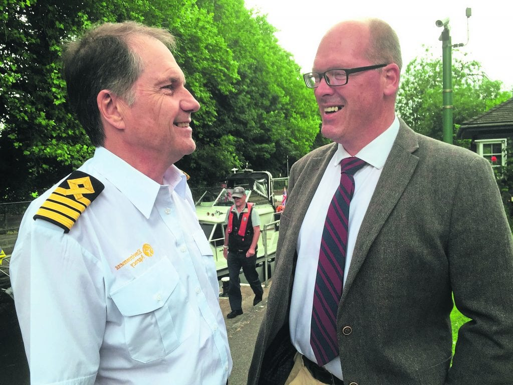 Andrew Graham, left, chatting with his successor Barry Russell. PHOTO: ENVIRONMENT AGENCY