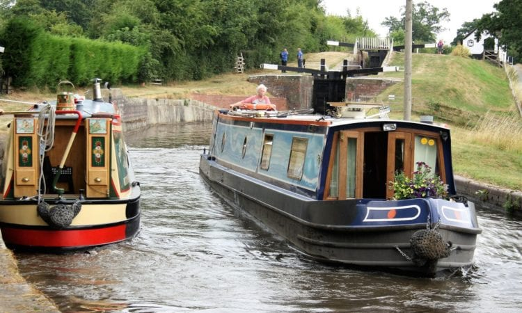 narrowboats at Frankton Lock
