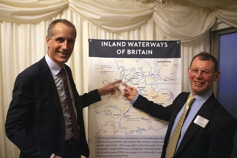 Bill Esterton MP chats with Jim Forkin at Inland Waterways Assocation parliamentary reception