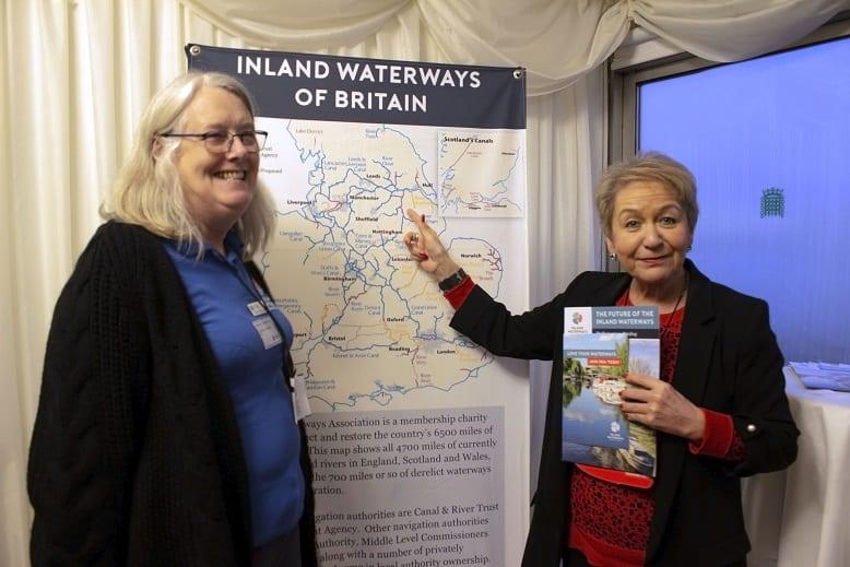 Wendy Humphries with Dame Rosie Winterton at Inland Waterways Association parliamentary reception