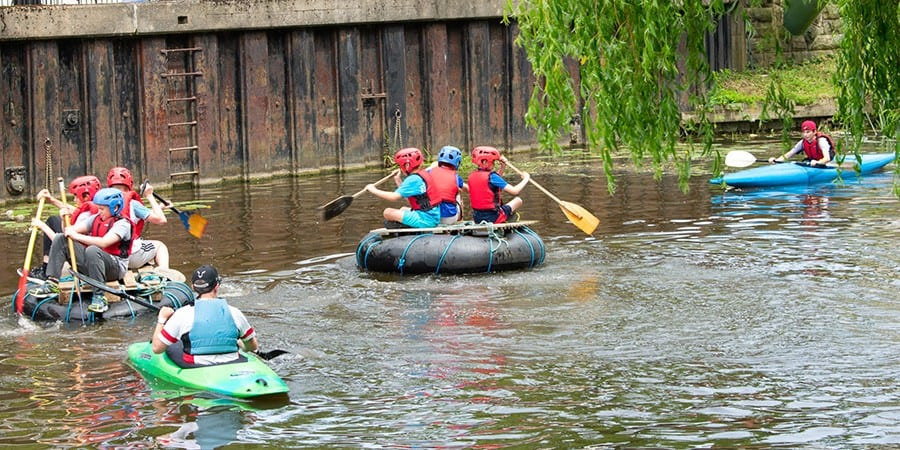 Children on rafts and kayaks on the Fossdyke Canal at Saxilby, commended in last year's Living Waterways Awards