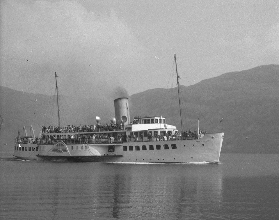 Maid of the Loch paddle steam approaching Balloch Pier