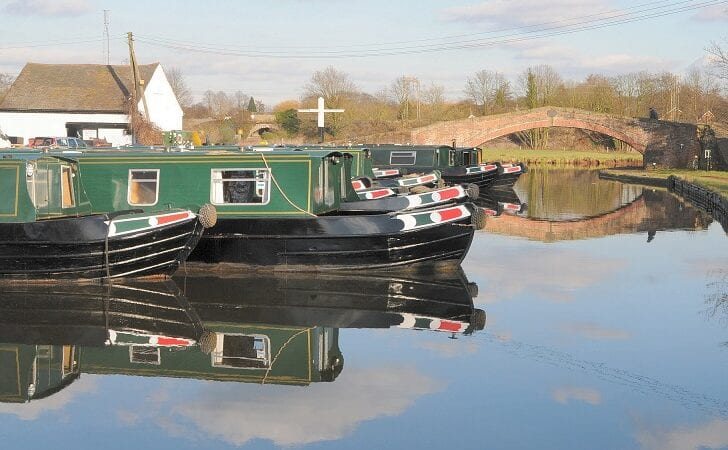 narrowboats in basin