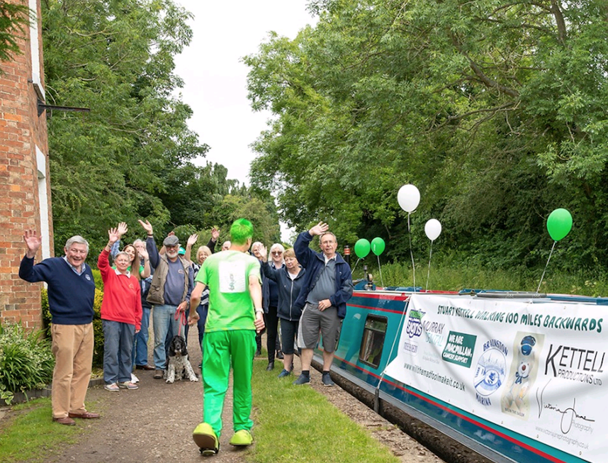 Stuart sets off on the walk to raise money for charity