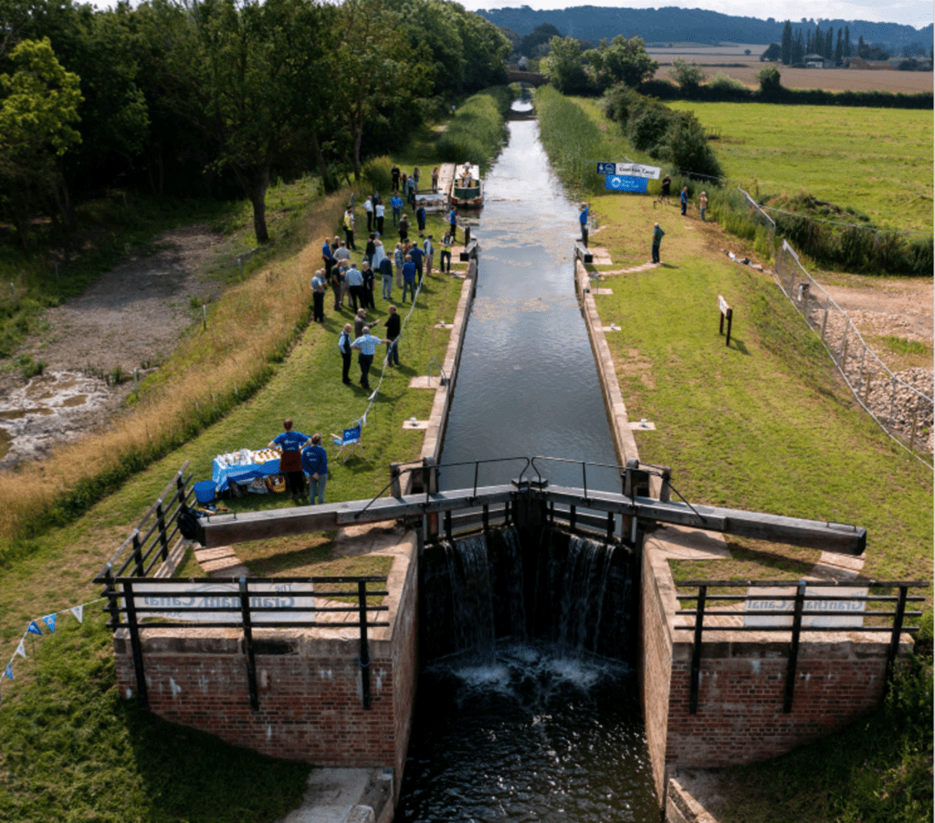An aerial view of the restored lock