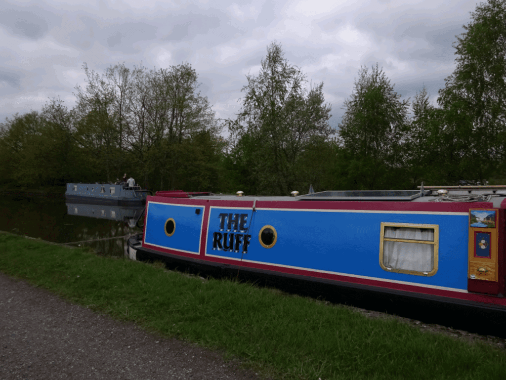 The Ruff moored and open for business at Pennington Flash on the Leigh Branch of the Leeds & Liverpool Canal.