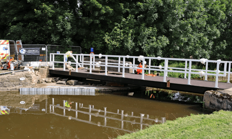 Work continues on the replacement of the Gawflat swing bridge