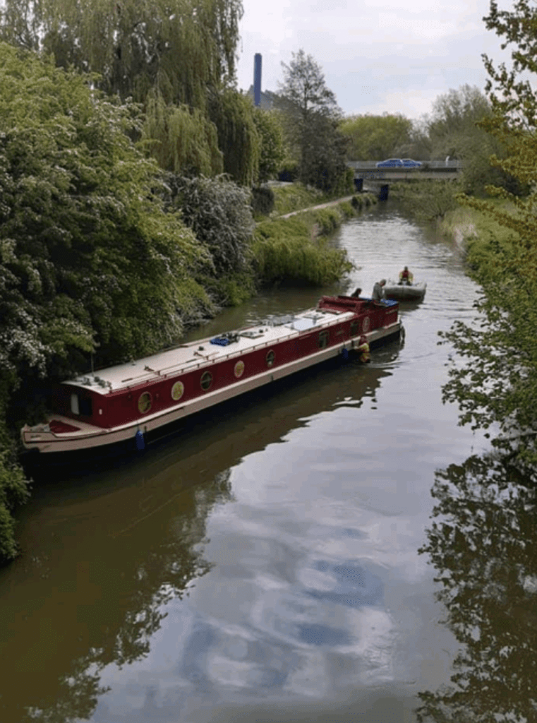 A grounded boat on the River Nene