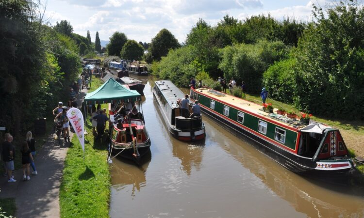 Narrowboats moored along the Worcester & Birmingham Canal for the Festival of Water