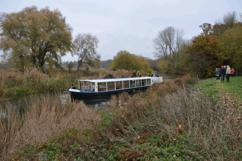 The John Bunyan at Kempston Mill where work is to start on a landing stage